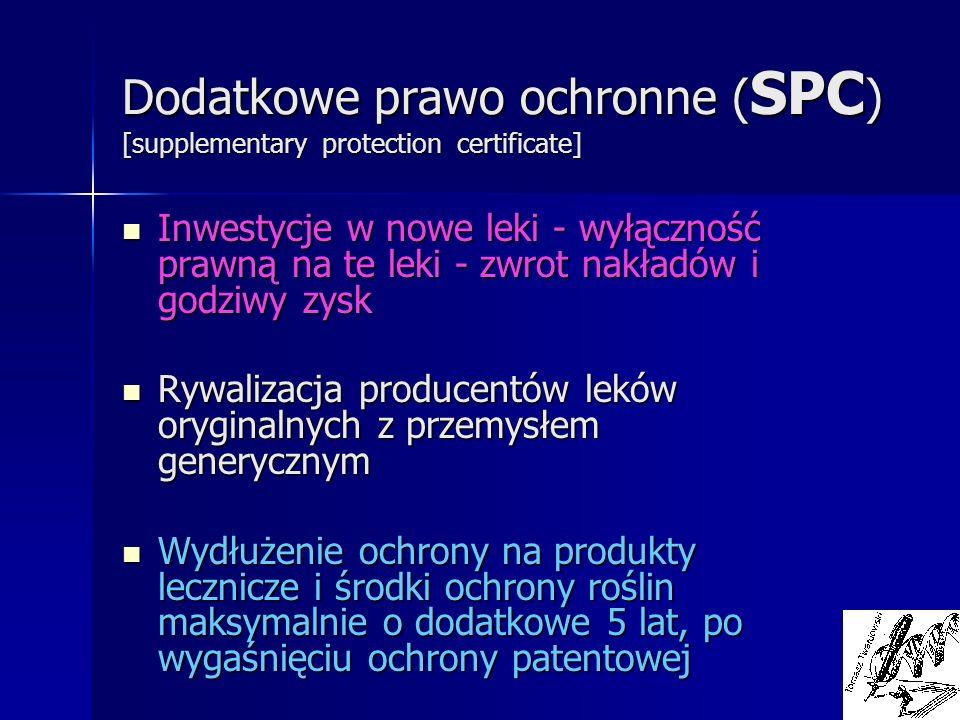 Dodatkowe prawo ochronne (SPC) [supplementary protection certificate]